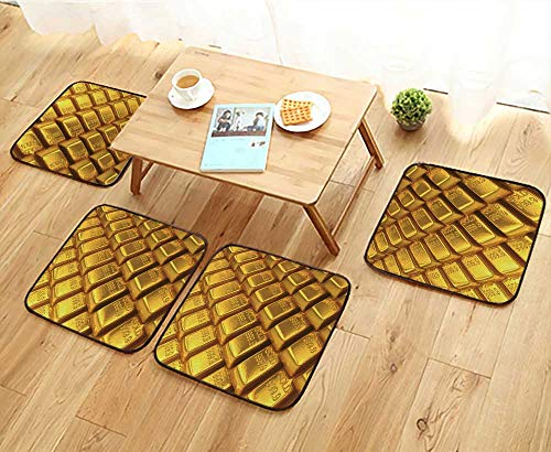 - Jiahonghome Chair Cushions an Array of Gold Bars Non Slip Comfortable W25.5 x L25.5/4PCS Set