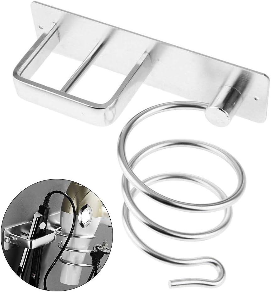 JVSISM Aluminum Wall Mounted Hair Dryer Rack Organizer Hair Dryer Straightener Holder Set Bathroom Shelf for Washroom Supplies Silver