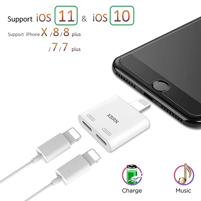 XBRN Dual Lightn Phone Adapter Splitter Compatible IP 8, 2 in 1 Light Headphone Jack Audio + Charge Cable Adapter Support IP X/ 7 Plus 8 Plus's Call Sync,Music Control,Charge