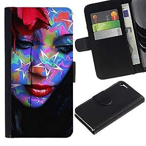 // PHONE CASE GIFT // Moda Estuche Funda de Cuero Billetera Tarjeta de crédito dinero bolsa Cubierta de proteccion Caso Apple Iphone 5 / 5S / Abstract Pop Art Tattoo Woman /