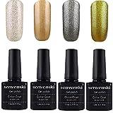 Senvenski Gel Nail Polish Set Soak Off UV LED Varnish Set Color Lacquers Manicure Nail Art Kits Gift Sets 4pcs