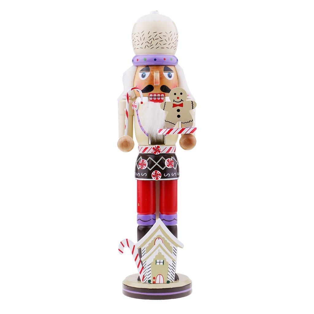 Flameer Christmas Nutcrackers Wooden Santa Claus Puppets Ornament Christmas Nutcracker Gift Table Ornament
