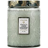 Voluspa French Cade and Lavender Large Embossed Glass Jar Candle, 16 Ounces