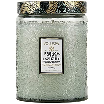 Amazon Com Voluspa French Cade And Lavender Large Embossed Glass Jar Candle 16 Ounces Beauty