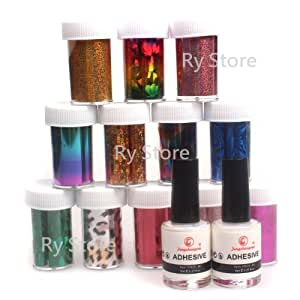 2 in 1 Professional 12 Mix Colorful Colors Shimmer Fashion Design Glitzy Transfer Nail ART Foil Roll with 2 PCS 8ml White Adhesive Glue Nail by RY