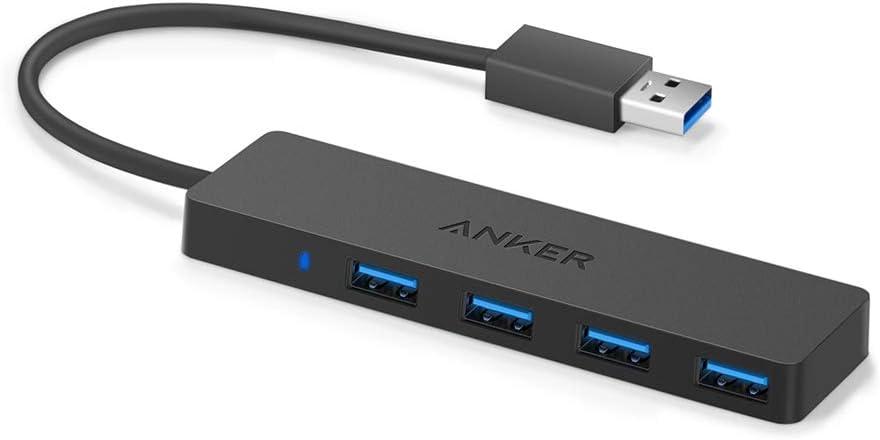 Anker 4 Ports USB 3.0 Data hub Ultra Slim pour macbook, Mac Pro/Mini, iMac, Surface Pro, xps, pc Portable, lecteurs Flash USB, Disque Dur Mobile et Plus (0,7 ft câble Extended)
