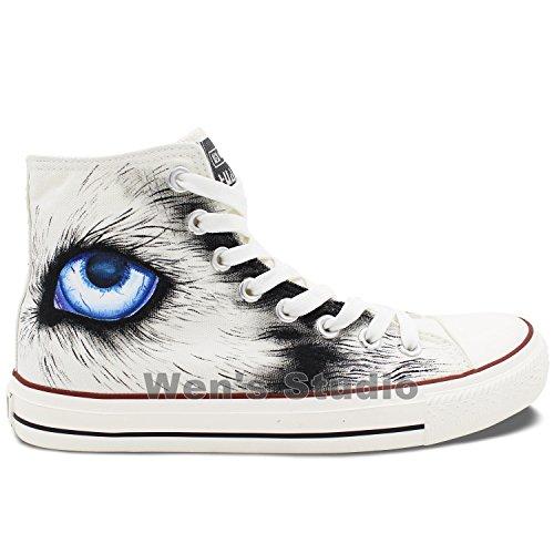 Wij Met De Hand Geschilderde Schoenen Ontwerpen Aangepaste Sneeuw Wolf Unisex Hoge Top Canvas Sneakers