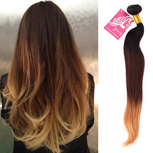 """Human Hair Extension Remy Straight Brazilian Unprocessed Virgin Natural Ombre #1B/4/27 Weft 24"""""""