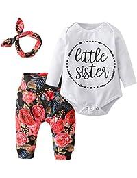 Baby Girls'3 Piece Little Sister Long Sleeve Romper Tops...