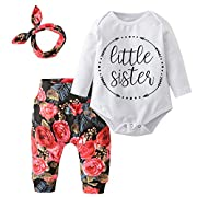 Derouetkia Baby Girls'3 Piece Little Sister Long Sleeve Romper Tops Casual Floral Pants With Headband Clothing Set (60(0-6 Months))