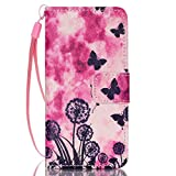 iPod Touch 5 Case, iPod Touch 6 Cover, Jenny Shop Fashion Flip Wallet Pu Leather Cover with Credit Card Slots Cash Pocket Stand Function with Wrist Strap (Dandelion and Butterfly)