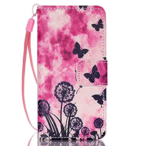 iPod Touch 5 Case, iPod Touch 6 Cover, Jenny Shop Fashion Flip Wallet Pu Leather Cover with Credit Card Slots Cash Pocket Stand Function with Wrist Strap (Dandelion and (Frozen Ipod Cases 5th Generation)