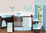 Turquoise and White Chevron ZigZag Unisex Baby Bedding 11 Piece Boy or Girl Crib Set without bumper