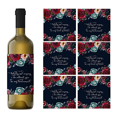 (Navy Floral Be My Bridesmaid Wine Bottle Labels (2 Maid of Honor & 5 Bridesmaid) Multi-Use Proposal)