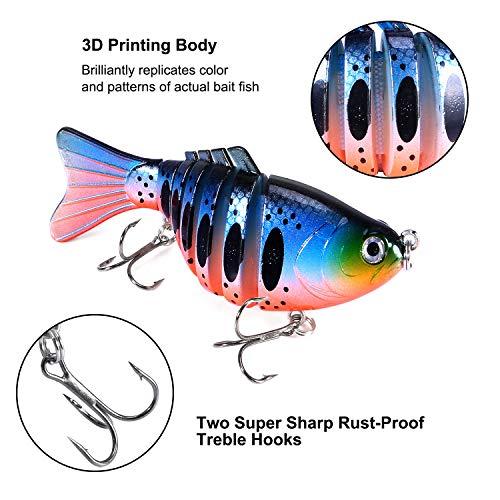 3-Pack Fishing Lure 8 Segment 3D Bass Walleye Crank Swimbait Lures Tackle Bait