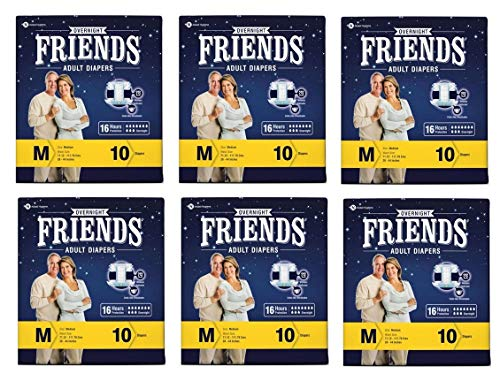 Friends Overnight Adult Diapers Tape Style – 10 Count (Medium) with odour lock and Anti-Bacterial Absorbent Core- Waist…