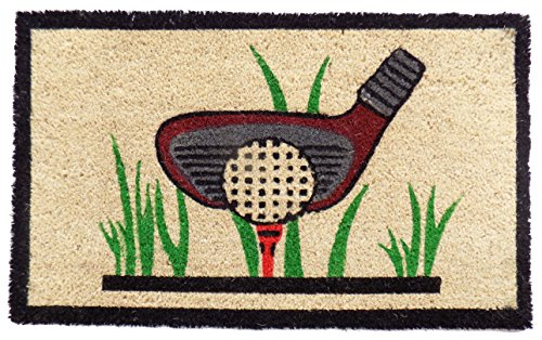 Imports Decor Golf Vinyl Backed Coir Doormat, 30 by 18 by 1/2