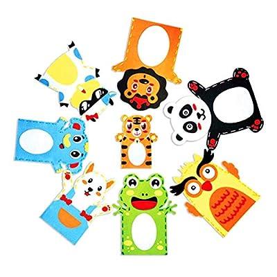 YESZ DIY Animal Hand Puppet Toy 5Pcs Kid DIY Cartoon Animal Hand Puppet Handmade Sewing Crafts Educational Toy - Random Style 5 Pcs: Toys & Games