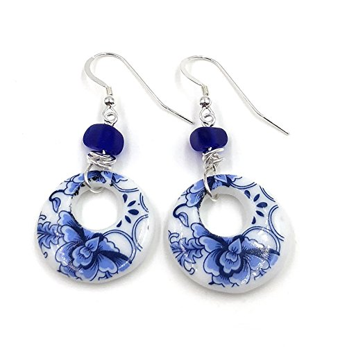 New! Sea Blue Sea Glass and Floral Porcelain Earrings on Sterling Sliver Hooks Handmade by Aimee Tresor