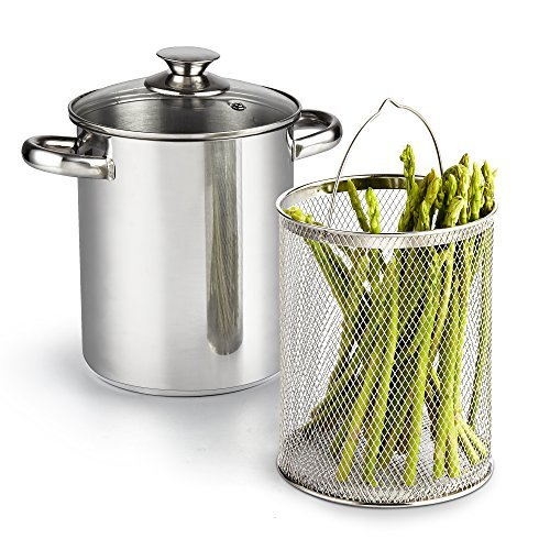 Cook N Home 2478 3 Piece Asparagus Vegetable Steamer Pot, 4 quart, Stainless Steel by Cook N Home