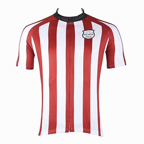 Paladin Men's Red and White Striped Short Sleeve Mountain Bike Clothing Top Size M
