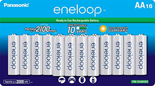Panasonic BK-3MCCA16FA eneloop AA 2100 Cycle Ni-MH Pre-Charged Rechargeable Batteries, (package includes 16AA blue or 16AA white) ()