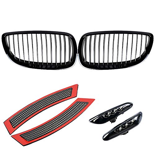 Complete Set Front Grille Left Right Bumper Reflector Side Marker Light Amber LED Smoke Lens Compatible with BMW 2007-2010 3 Series E92 E93 Pre-LCI T10 Socket