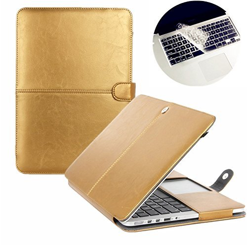 Se7enline A1278 Macbook Pro Case PU Leather Book Case for MacBook Pro 13 inch with CD-Rom 2010-2012 released Sleeve Carrying Cover Folio Case with Transparent Keyboard Cover, Gold - Metallic Office Bookcase