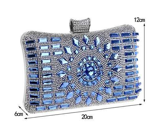 Party Package Ladies Luxe Evening type Main Sacs Pour Nightclub Clubs à blue Diamond De Clutch Oreiller Mariage Les gawqU5qfx