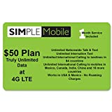 Simple Mobile Nano Sim Card Preloaded Prefunded With $50 Plan Works With Unlocked GSM And T-Mobile Phones