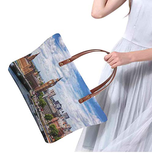 Custom Handbag Tote Shopping Bags London,Extensive Cityscape With Big Ben  Westminster Bridge on River Thames and Clouds Image,Multicolor Printing
