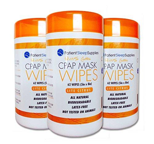 Patient Sleep Supplies CPAP Mask Wipes (Lite Citrus) – 3 packs of 62 wipes