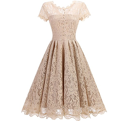 Collocation-Online 2018 Vintage Tunic Lace Dress Robe Casual 1950s Rockabilly Sleeve V-Back Summer Dresses,Champagne,L -