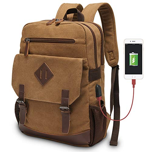 Vintage Backpack for Men, Modoker Canvas College School Messenger Rucksack Bookbag, Multipurpose Travel Hiking Daypack Laptop Backpack Fits 15.6 inch with USB Port in Brown