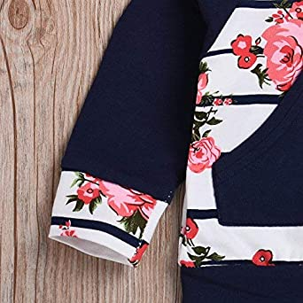 Dacestar reci/én Nacido ni/ño ni/ño ni/ñas Ropa 3PCs Conjunto de Trajes con Manga Larga Floral Sudadera Sudadera Tops Pantalones Trajes