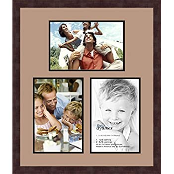 Art to Frames Double-Multimat-677-766//89-FRBW26061 Collage Frame Photo Mat Double Mat with 3-8x12 Openings and Espresso Frame