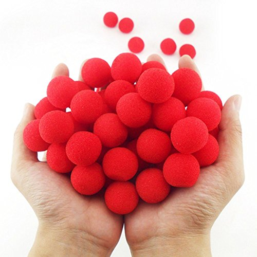 Balls Magic Trick - OUERMAMA 40Pcs Red Sponge Soft Ball Close-Up Magic Street Classical Comedy Trick Props (1inch)