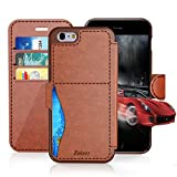 #5: iPhone 6/6S Plus Leather Wallet Case with Cards Slot and Metal Magnetic, Slim Fit and Heavy Duty, TAKEN Plastic Flip Case / Cover with Rubber Edge, for Women, Men, Boys, Girls, 5.5 Inch (Dark Brown)