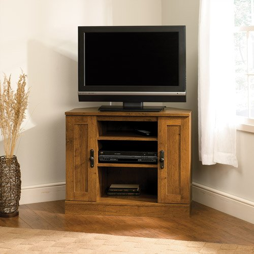 Corner Entertainment Center TV Stand with Enclosed Back Panel and 2 Adjustable Shelves Abbey Oak Finish Storage Area Behind Doors Sturdy and Durable Wood Construction Living Room Furniture Décor