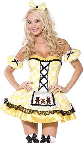 Sexy Goldilocks Costumes (Smiffy's Women's Fever Goldilocks Costume, Dress with Apron, Sleeves and Headband, Once Upon a Time, Fever, Size 10-12, 36190)