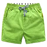 Papijam Girls Boys Elastic Waist Cotton Drawstring Cuffed Summer Shorts Green 10/12