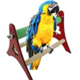 Legendog Parrot Perch Bird Stand Triangle Training Interactive Bird Wood Stand Bird Cage Toy