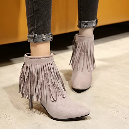 AIYOUMEI Womens Booties Stiletto High Heel Fringe Pointed Toe Ankle Boots Ladies Tassel Short Boots Beige 1ELY9