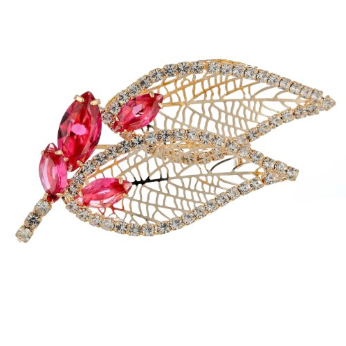 Swarovski Pink Vintage Brooch - Janeo Beautiful Flower Leaf Bouquet Costume Jewelry Brooch Dress Pin, 14K Gold, Womens Swarovski Element Vintage Cocktail Party Timeless Design, Christmas Gift Wrapped Under $13, Green, Blue, Pink