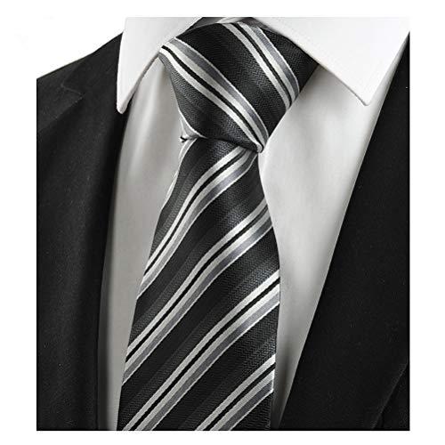 L04BABY Classic Black Silver Striped Jacquard Woven 100% Silk Men Tie Necktie -