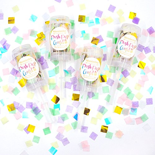 NICROLANDEE Iridescent Push Pop Confetti Unicorn Confetti Poppers Party Tissue Paper Confetti for Mermaid Baby Shower Gender Reveal Bridal Shower Unicorn Party Set of 4 Gift Box]()