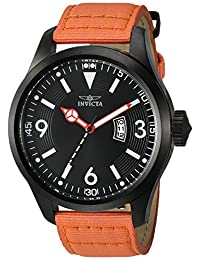 Invicta Men's 'Aviator' Quartz Stainless Steel and Nylon Casual Watch, Color: Orange (Model: 19420)