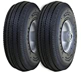 "Marathon 2-Pack 4.10/3.50-4"" Pneumatic (Air Filled) Hand Truck / All Purpose Utility Tires on Wheels,  2.25"" Offset Hub, 5/8"" Bearings"