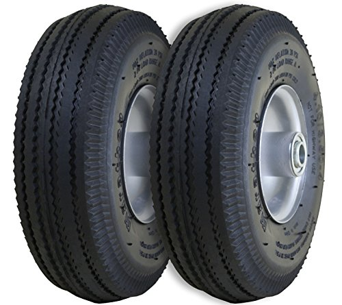 "Price comparison product image Marathon 2-Pack 4.10/3.50-4"" Pneumatic (Air Filled) Hand Truck / All Purpose Utility Tires on Wheels,  2.25"" Offset Hub, 5/8"" Bearings"