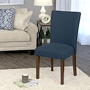 HomePop Parsons Classic Upholstered Accent Dining Chair, Single Pack, Dark Blue